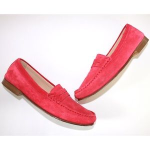 J. Crew Soft Fuchsia James Suede Penny Loafers